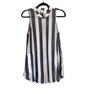 Cloth & Stone Cotton Chambray Striped Tunic Top M